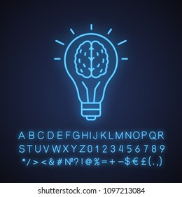 Good idea neon light icon. Human brain inside light bulb. Eureka. Glowing sign with alphabet, numbers and symbols. Vector isolated illustration