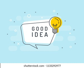Good Idea Quick Tips badge with light bulb and speech bubble. Trendy flat vector on blue background. Vector Illustration.