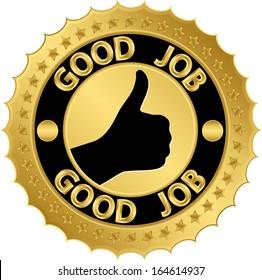 Good job golden label, vector illustration