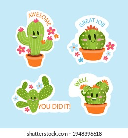 Good job and great job cactus sticker set, Vector illustrations.