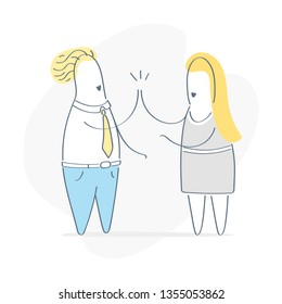 Good job! Two cheerful business persons giving high five at office meeting. Teamwork, success, victory, achievement or good work result. Flat outline vector illustration.