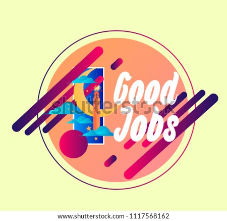 Good jobs vector beautiful greeting card stock vector royalty free good jobs vector beautiful greeting card or label with crescent moon theme m4hsunfo