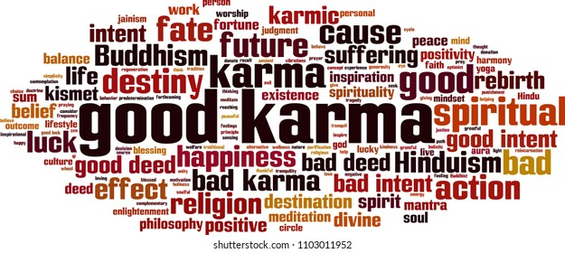 Good karma word cloud concept. Vector illustration