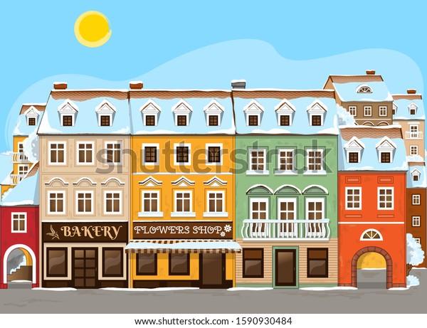 Good little winter town. Vector Illustration