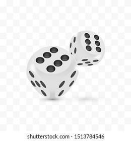 Good luck award craps concept, shiny photo realistic metallic two rolling hanging dices, 3d render with soft shadows and reflections, vector illustration isolated on transparent white background