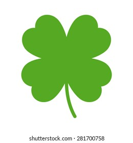 Good luck clover or four leaf clover flat vector icon for apps and websites