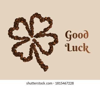 Good Luck Coffee Clover. Vector Illustration