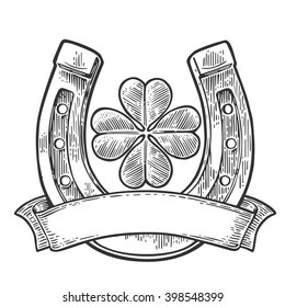 Good luck four leaf clover and horseshoe with ribbon. Vintage vector engraving illustration for info graphic, poster, web. Black on white background