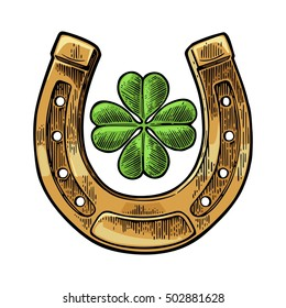 Good luck four leaf clover and horseshoe. Vintage vector color engraving illustration for info graphic, poster, web. Isolated on white background.