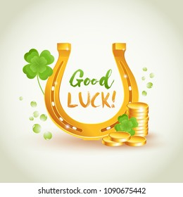 Good luck golden horseshoe with lucky  four leaves clover.  Good luck and wealth symbols. Good luck vector sign illustration.