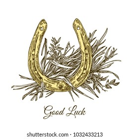 Good luck. Golden horseshoe and straw. Engraving style. Vector illustration.