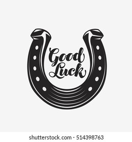 Good luck. Horseshoe with inscription. Vector symbol or icon