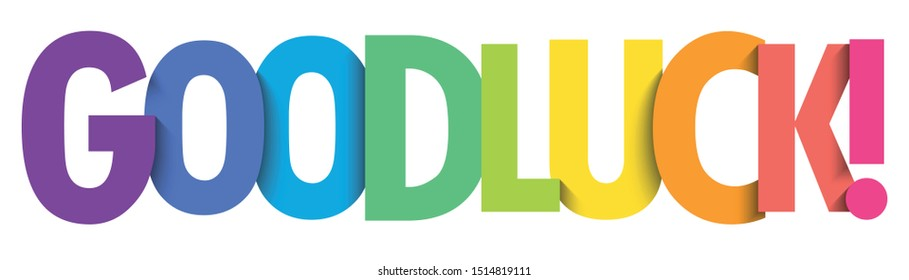 GOOD LUCK! rainbow gradient typography banner