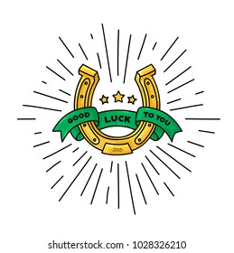 Good luck symbol, horseshoe vector illustration golden with green ribbon around it with lettering, outline color graphic logotype