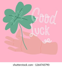 Good Luck. Vector handwritten lettering. Template for card, poster, banner. print for t-shirt.