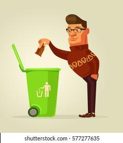 Good man character throw garbage in trash bin. Vector flat cartoon illustration