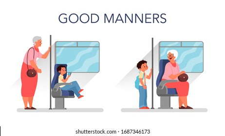 Good manners concept. Retired woman standing in the bus while little boy sitting. Biy giving way to an elderly person. Parenthood and child rearing concept. Isolated flat illustration