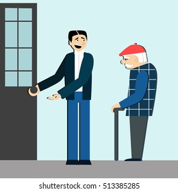 good manners. man open the door for old man.etiquette.polite man.Conscience ethics and  moral.respect old people.