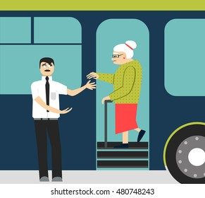 good manners.old woman in the bus.to give hand to old woman.tired woman and man.Conscience ethics and  moral.respect old people