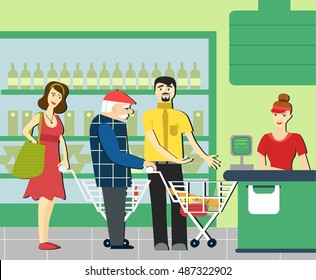 good manners.retired man in the supermarket.to give way to an elderly person.supermarket cashier.the queue at the store.Conscience ethics and  moral.respect old people