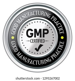 Good Manufacturing Practice. GMP Certified. Vector Silver Badge.