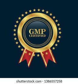 Good Manufacturing Practice. GMP Certified.gold emblem with ribbon.
