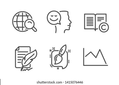 Good mood, Internet search and Feather signature icons simple set. Copyright, Painting brush and Line chart signs. Positive thinking, Web finder. Education set. Line good mood icon. Editable stroke