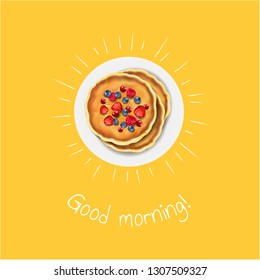 Good Morning Banner With Pancakes With Gradient Mesh, Vector Illustration