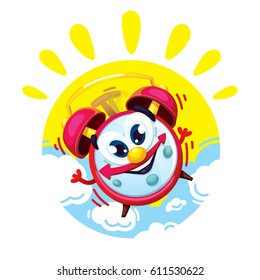 Good morning cartoon comic red alarm clock on the background of the sun and clouds. Vector isolated children's illustration of an alarm clock character