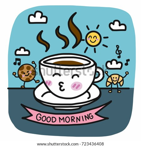 Good Morning Coffee Cup Breakfast Friend Stock Vector Royalty Free