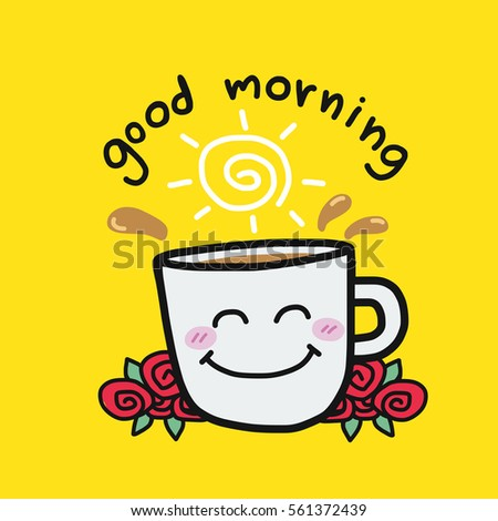 Good Morning Coffee Cup Roses Cartoon Stock Vector Royalty Free