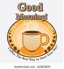 Good morning coffee label