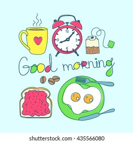 Good morning colorful objects. Cup, alarm clock, tea bag,  toast with jam and scrambled eggs