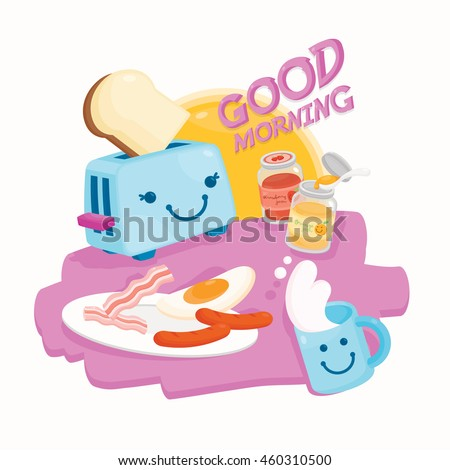 Good Morning Cute Breakfast Stock Vector Royalty Free 460310500