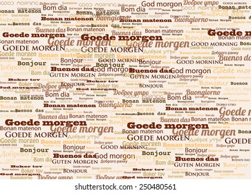 Good morning in different languages vector background