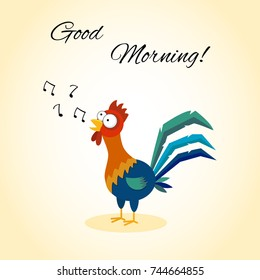 Good morning. Funny cartoon rooster singing.