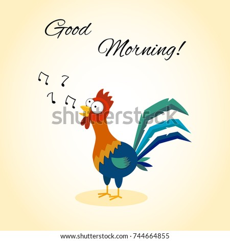 Good Morning Funny Cartoon Rooster Singing Stock Vector Royalty
