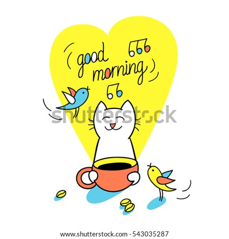 Good Morning Funny Cat Holds Cup Stock Vector Royalty Free