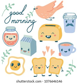Good morning. Funny characters breakfast vector collection: toasts (bread), cup of coffee, tea, milk, toaster, fried egg. Set of cute food and drink icons in kawaii style with smiling face