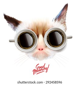 Good morning! Funny grumpy cat with cups of coffee glasses, vector illustration.
