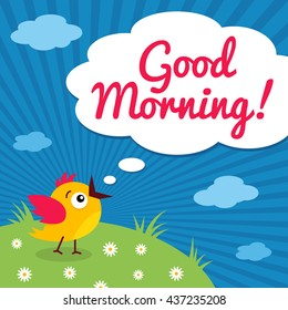 Good Morning! Funny Little Bird With Open Mouth And Speech Bubble On Meadow  And Clouds