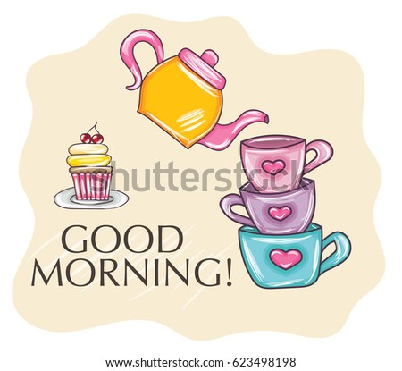 Good Morning Hand Draw Greeting Card Stock Vector Royalty Free