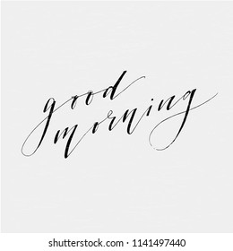Good Morning Lettering Calligraphy Vector Text Phrase typography illustration
