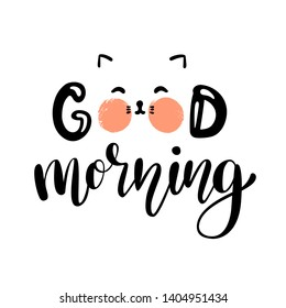 Good morning lettering poster with cute cat character. Morning card. Vector illustration isolated on white.