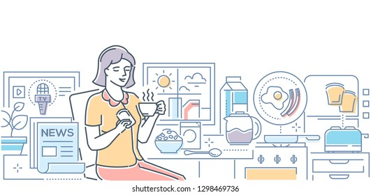 Good morning - modern line design style illustration on white background. High quality linear composition with a woman having breakfast, drinking coffee with toast, reading newspaper, watching TV