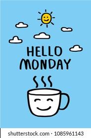 Good morning Monday wishing you a beautiful week word and yellow sun vector illustration