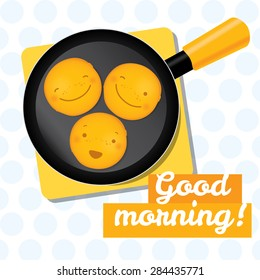 Good morning picture about pancake breakfest and happy starting day. Flat vector illustration and design element