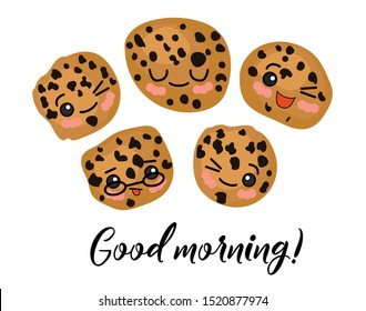 Good morning. Morning postcard. Oatmeal tea cookies with raisins and chocolate. Cute characters