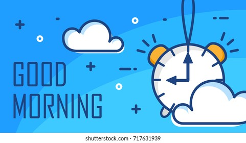 Good morning poster with alarm clock and clouds. Thin line flat design. Vector background.