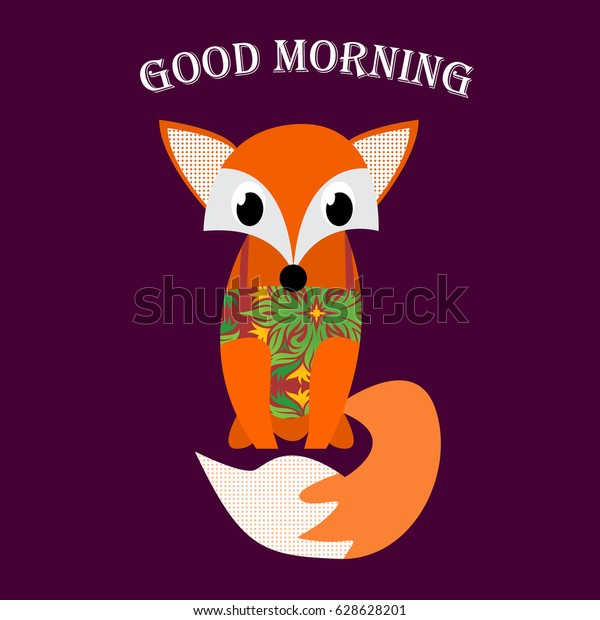 picture regarding Fox Printable called Wonderful Early morning Quotation Printable Lovable Fox Inventory Vector (Royalty